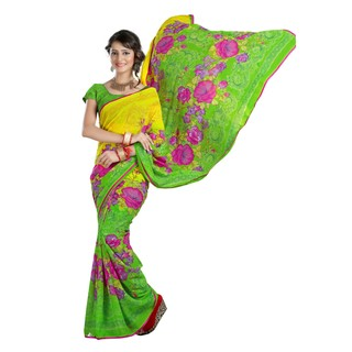 Firstloot Amiable Green Colored Floral Printed Faux Georgette Saree
