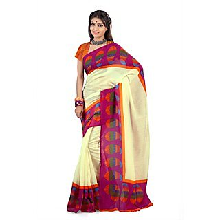Firstloot Delightful Cream Colored Traditional Printed Art Silk Saree