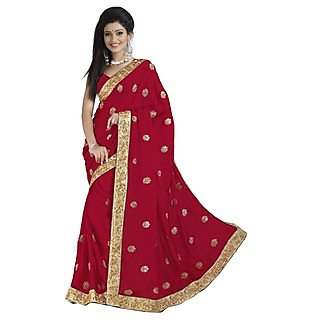 Firstloot Staggering Maroon Colored Embroidered Satin Chiffon Saree