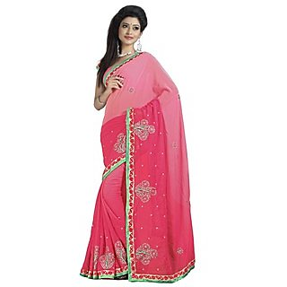 Firstloot Adorable Dual Shaded Embroidered Faux Georgette Saree