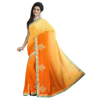 Firstloot Admirable Dual Shaded Embroidered Faux Georgette Saree