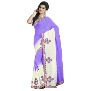 Firstloot Alluring Dual Shaded Embroidered Faux Georgette Saree
