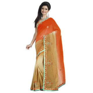 Firstloot Wonderful Dual Shaded Embroidered Faux Georgette Saree