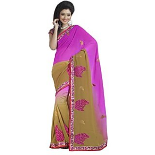 Firstloot Fashionable Pink Colored Embroidered Faux Georgette Saree