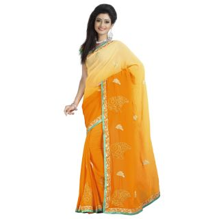Firstloot Magnetic Yellow Colored Embroidered Faux Georgette Saree