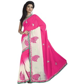 Firstloot Tempting Pink Colored Embroidered Faux Georgette Saree