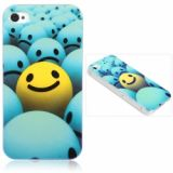 Innovative Lustrous Surface Smile Face Pattern Hard Plastic Back Case With Transparent Frame For Iphone 4/4s