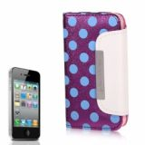 Luxurious Dots Pattern Wallet Design Artificial Leather Flip Pouch Cover Case For Iphone 4 4s (purple)