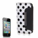 Luxurious Dots Pattern Wallet Design Artificial Leather Flip Pouch Cover Case For Iphone 4 4s (white)