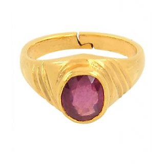 Certified Ruby Manik Gemstone Ring in PanchDhatu Adjustable Ring 3.25 Ratti+ Wt.