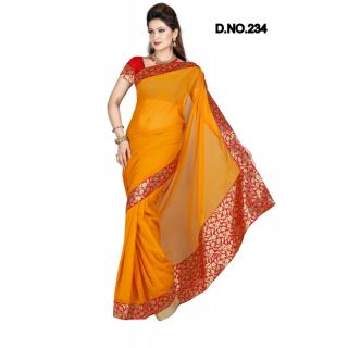 71b05e758 RUST FAUX CHIFFON PARTY WERE SAREE WITH BLOUSE(MF234)