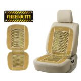 Vheelocity Car Wooden Bead Seat Cushion With Beige Velvet Border