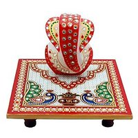 Ravishing Variety Marble Multicolor Chowki Ganesh (No of Pieces 1)