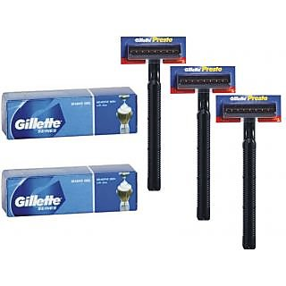 Gillette Series Shave Gel PACK OF 2 + RAZOR GILLETTE PRESTO 3