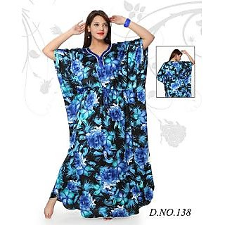 a0d69c50f7 Womens Kaftan Cotton Floral Printed Nighty New Blue Night Gown Daily Bed  Wear