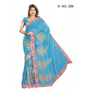 FIROJI FAUX CHIFFON PARTY WERE SAREE WITH BLOUSE(MF299)