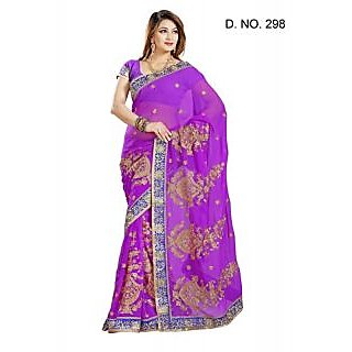 MAGENTA FAUX CHIFFON PARTY WERE SAREE WITH BLOUSE(MF298)