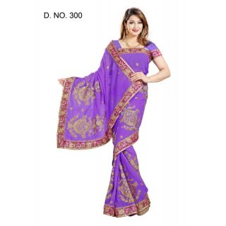 VIOLET FAUX CHIFFON PARTY WERE SAREE WITH BLOUSE(MF300)