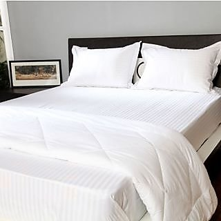 Valtellina   Cotton  white  Double  Bed sheet 90 x108 inch(HTL-0012)
