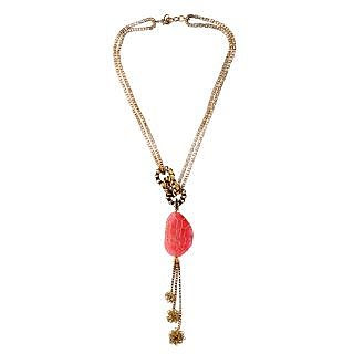 Rejuvenate Jewels SEMI PRECIOUS AGATE STONE WITH CHAIN&WIRE BALL NECKLACE-RJN842