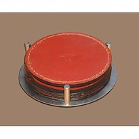 DESIGNER LEATHER COASTER SET OF 4 WITH STAND IHU79