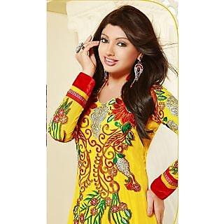 Yellow Faux Georgette Anarkali Salwar Kameez