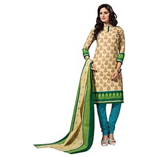 Dfolks Green And Brown Cotton Printed Salwar Suit Dress Material (Unstitched)