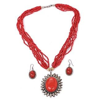 Diva Red Statement NECKLACE Earrings Set
