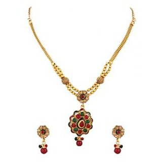 Diva Gold Plated Necklace Earrings Set