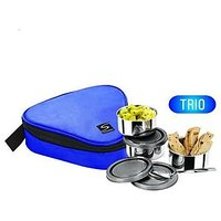 Trio Lunch Box With Steel Airtight Containers And Insulated Pouch