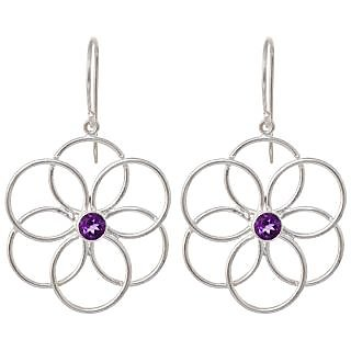 Yaasna Fusion Jewelry Sterling Silver Flower Earrings with Amethyst Gemstone