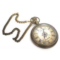 Anantahomes Brass Pocket Watch Chain Ship Wheel Dial