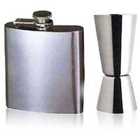 Valentine Gift Hip Flask + Peg Measurer 30 / 60 ML Measure - Stainless