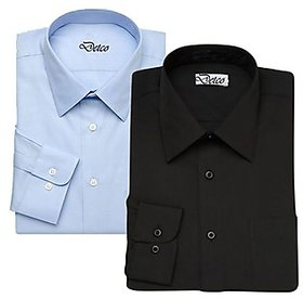 Grahakji Men's  Black and Blue Regular Fit Formal Shirt