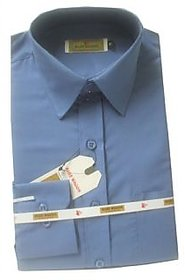 Grahakji Men's Navy Regular Fit Formal Poly-Cotton Shirt