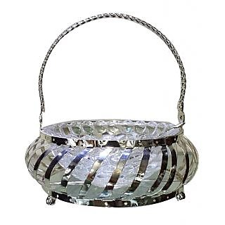 Silver Spirit Stylish Silver Plated Basket With Glass Bowl