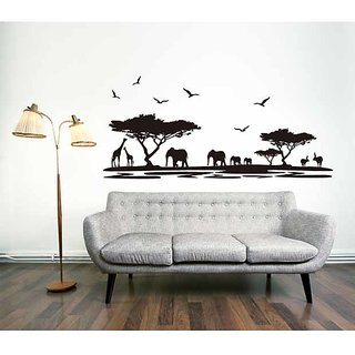 Asmi Collections Wall Stickers Elephant Tree Jungle in Evening