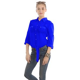 85d5ab46dd89d Buy Women Tops   Blousevelte Collar Top With Front knot - Royal Blue ...