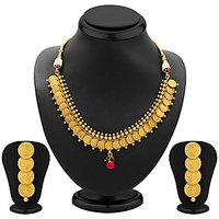 Sukkhi Moddish Gold Plated Temple Jewellery Coin Necklace Set for Women