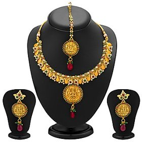 Sukkhi Divine Gold Plated Temple Jewellery Necklace Set for Women