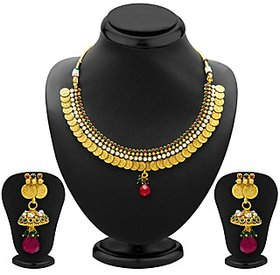 Sukkhi Classy Gold Plated  Temple Jewellery Coin Necklace Set for Women