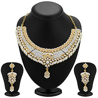 Sukkhi Elegant Gold Plated Meenakari AD Necklace Set for Women