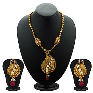 Sukkhi Beguiling Antique Gold Plated Kundan Necklace Set For Women