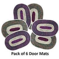 Honey Online Polyester Door Mat (12x16 Inches) Multicolour Set Of 6