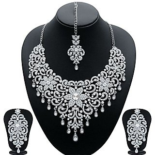 Sukkhi traditionally gold and rhodium plated ad bridal necklace set sukkhi silver plated silver necklace set for women aloadofball Choice Image