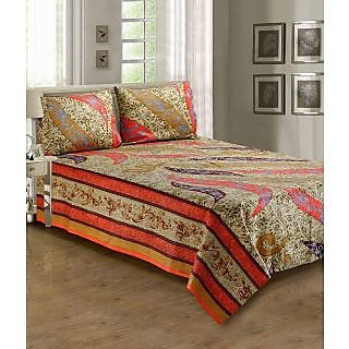Anubhutee Printed Multi Colour Cotton Double Bed Sheets