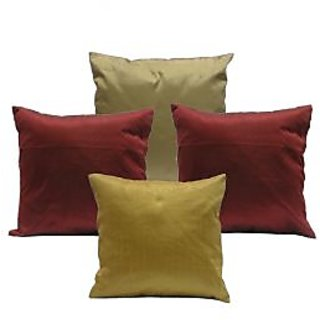 Ambbi Collections Maroon And Golden Color Polyester Cushion Cover
