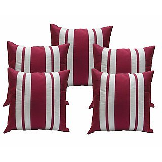 Ambbi Collections Pink And White Polyester Cushion Cover