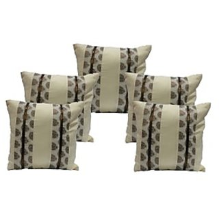 Ambbi Collections White Cushion Cover With Brown  Brocade