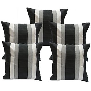 Ambbi Collections Black White Polyester Cushion Cover